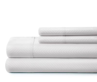 Chevron 4-Piece Twin Sheet Set, White, large
