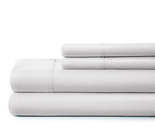 Chevron 4-Piece Twin Sheet Set, White, rollover