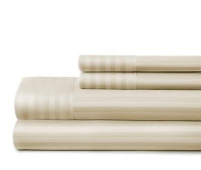 Striped 4-Piece California King Sheet Set, Ivory, large