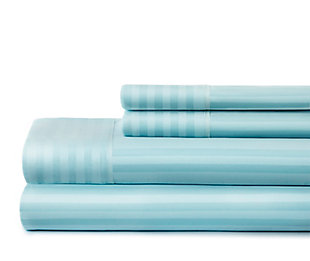 Striped 4-Piece Twin Sheet Set, Aqua, large