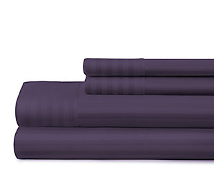 Striped 4-Piece Twin Sheet Set, Purple, large
