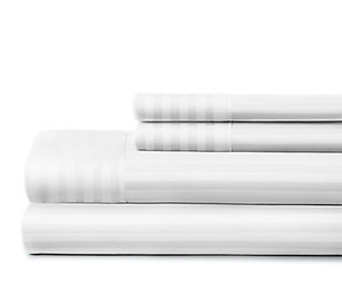 Striped 4-Piece Twin Sheet Set, White, rollover