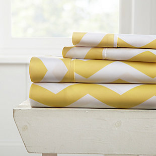 Arrow Patterned 4-Piece Twin Sheet Set, Yellow, large