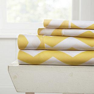 Arrow Patterned 4-Piece Twin Sheet Set, Yellow, rollover
