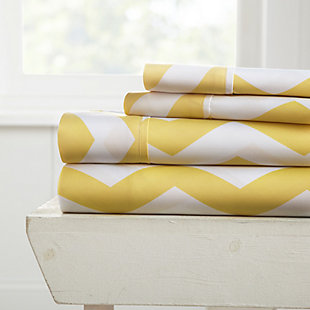Arrow Patterned 4-Piece Twin Sheet Set, Yellow, large