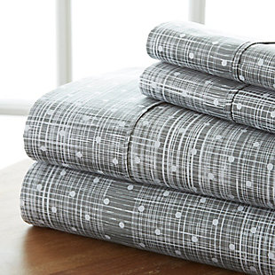 Polka Dot 4-Piece Twin Sheet Set, Gray, large