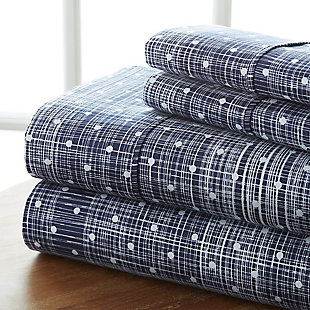 Polka Dot 4-Piece Twin Sheet Set, Navy, rollover
