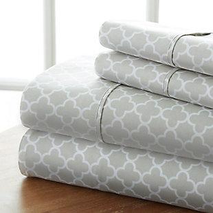 Quatrefoil 4-Piece Twin Sheet Set, Gray, large