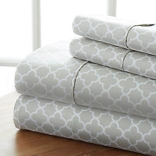 Quatrefoil 4-Piece Twin Sheet Set, Gray, rollover