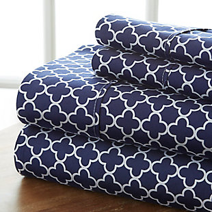 Quatrefoil 4-Piece Twin Sheet Set, Navy, large