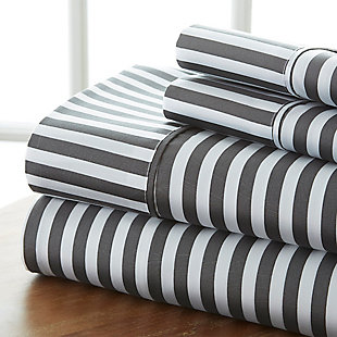 Striped 4-Piece Twin Sheet Set, Gray, large