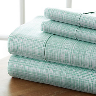 Thatch Patterned 4-Piece Twin Sheet Set, Forest, large