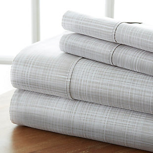 Thatch Patterned 4-Piece Twin Sheet Set, Gray, large