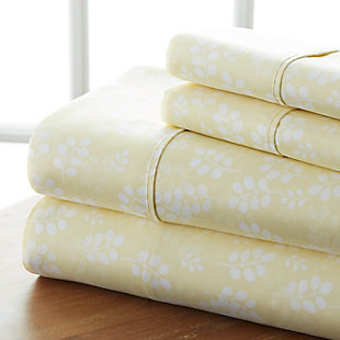 Wheat Patterned 4-Piece Twin Sheet Set, Ivory, rollover