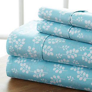 Wheat Patterned 4-Piece Twin Sheet Set, Pale, rollover