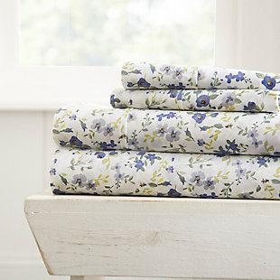 Flower Blossoms 4-Piece Twin Sheet Set, Light Blue, large