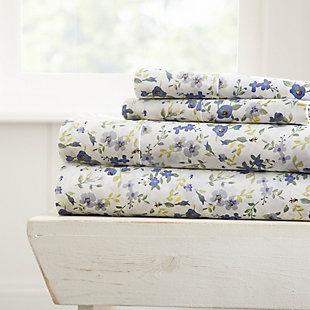 Flower Blossoms 4-Piece Twin Sheet Set, Light Blue, rollover