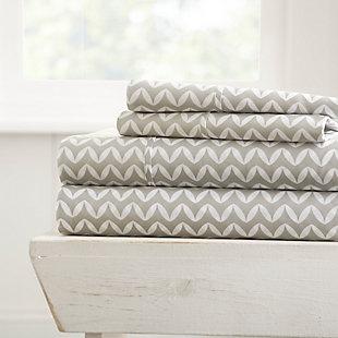 Chevron 4-Piece Twin Sheet Set, Light Gray, large