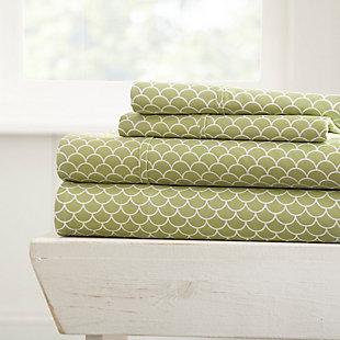 Scallop Patterned 4-Piece Twin Sheet Set, Sage, large