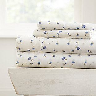 Floral 4-Piece Twin Sheet Set, Light Blue, rollover