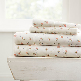 Floral 4-Piece Twin Sheet Set, Pink, rollover