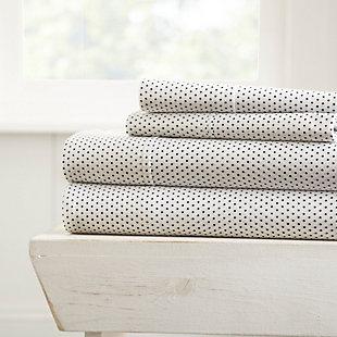 Stippled Pattern 4-Piece Twin Sheet Set, Gray, large
