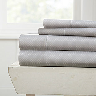 Heart Patterned 4-Piece Twin Sheet Set, Light Gray, large
