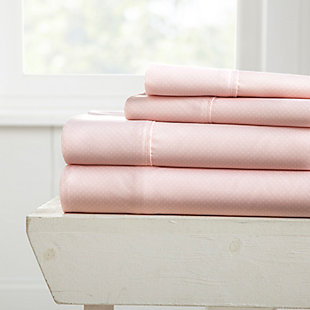 Heart Patterned 4-Piece Twin Sheet Set, Pink, large