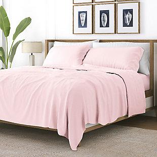 Heart Patterned 4-Piece Twin Sheet Set, Pink, rollover