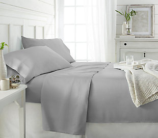 Bamboo 4-Piece Twin Sheet Set, Light Gray, rollover