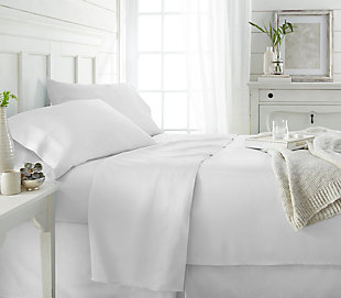Bamboo 4-Piece Twin Sheet Set, White, rollover