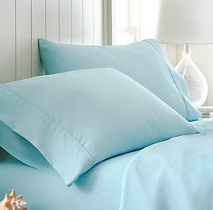 Two Piece Double-Brushed Microfiber Pillowcase Set, Aqua, large