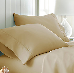 Two Piece Double-Brushed Microfiber Pillowcase Set, Gold, large