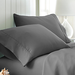 Two Piece Double-Brushed Microfiber Pillowcase Set, Gray, large