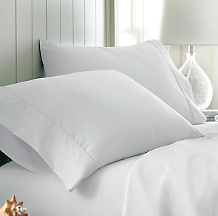 Two Piece Double-Brushed Microfiber Pillowcase Set, White, large