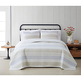 Cottage Classics Spa Stripe 2 Piece Twin/Twin XL Quilt Set, Blue/Tan, rollover