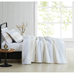 Cottage Classics Spa Stripe 2 Piece Twin/Twin XL Comforter Set, Blue/Tan, large