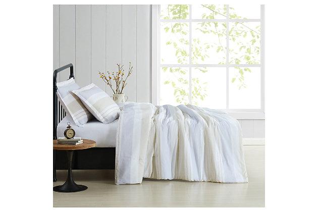 Cottage Classics Spa Stripe 3 Piece Full/Queen Comforter Set, Blue/Tan, large