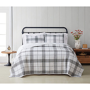 Cottage Classics Cottage Plaid 2 Piece Twin/Twin XL Quilt Set, Black/White, rollover