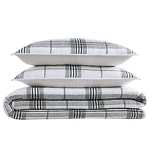 Cottage Classics Cottage Plaid 2 Piece Twin/Twin XL Quilt Set, Black/White, large