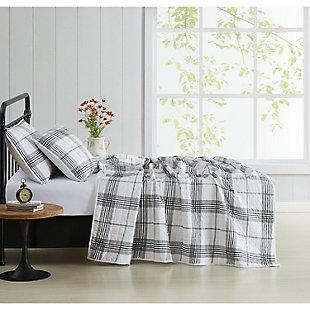 Cottage Classics Cottage Plaid 2 Piece Twin/Twin XL Quilt Set, Black/White, large