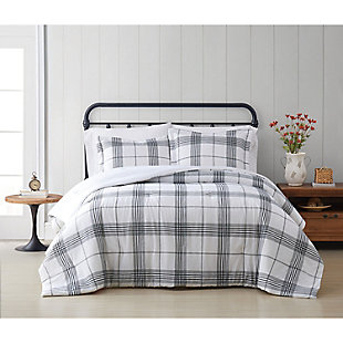 Cottage Classics Cottage Plaid 2 Piece Twin/Twin XL Comforter Set, Black/White, rollover