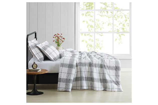 Cottage Classics Cottage Plaid 2 Piece Twin/Twin XL Comforter Set, Black/White, large