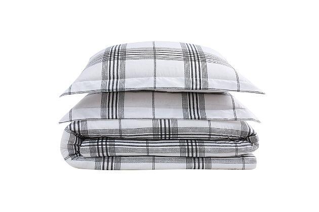 Cottage Classics Cottage Plaid 3 Piece Full/Queen Comforter Set, Black/White, large