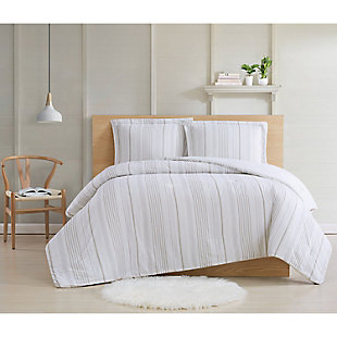 Cottage Classics Warm Hearth Stripe 2 Piece Twin XL Comforter Set, Tan, rollover