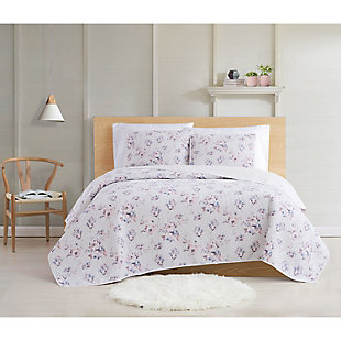 Cottage Classics Rose Dusk 2 Piece Twin XL Quilt Set, Pink, rollover