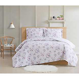 Cottage Classics Rose Dusk 2 Piece Twin XL Comforter Set, Pink, rollover