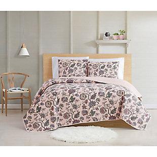 Cottage Classics Ridgefield 2 Piece Twin XL Quilt Set, Pink, rollover
