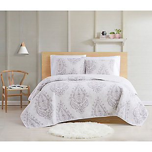 Cottage Classics Paisley Blossom 2 Piece Twin XL Quilt Set, Purple, rollover