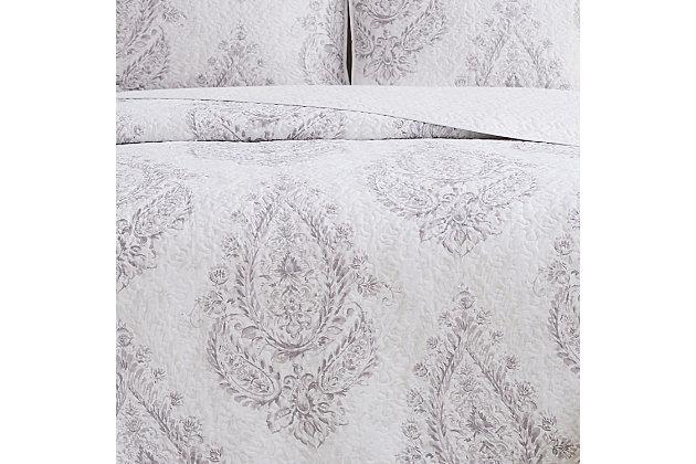 Cottage Classics Paisley Blossom 2 Piece Twin XL Quilt Set, Purple, large